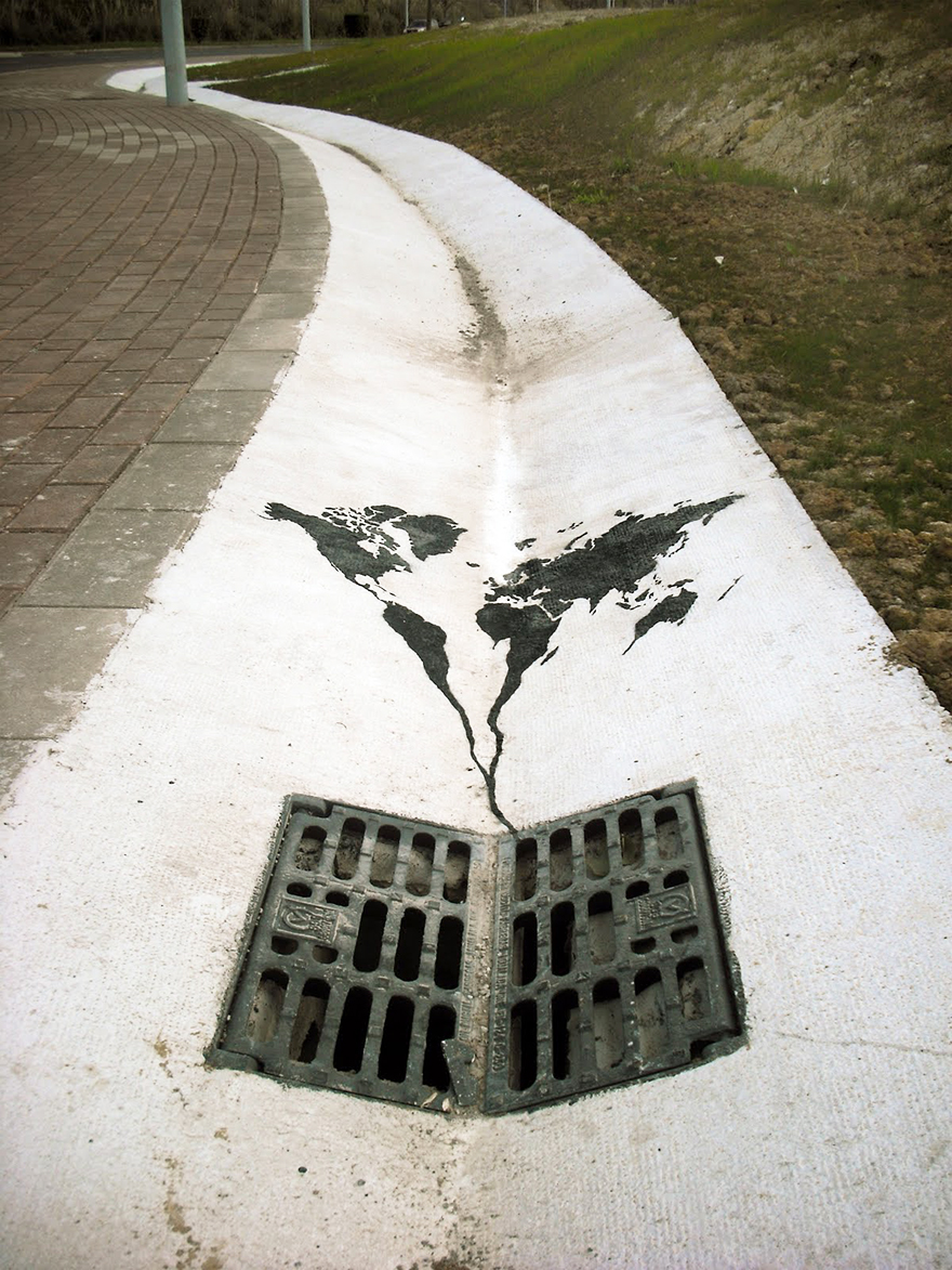 World Going Down The Drain Spain Image: pejac